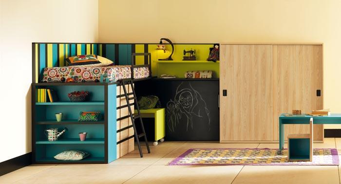 Cama alta moderna life box con laterales met licos para - Habitacion con literas para ninos ...