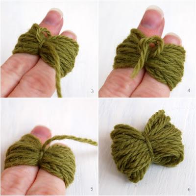 hacer una moña de lana
