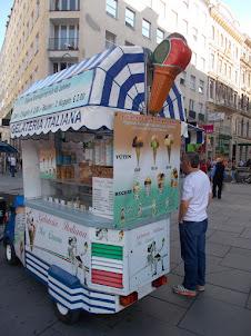 Vienna street food at Stephansplatz :- Italian ice-creams.