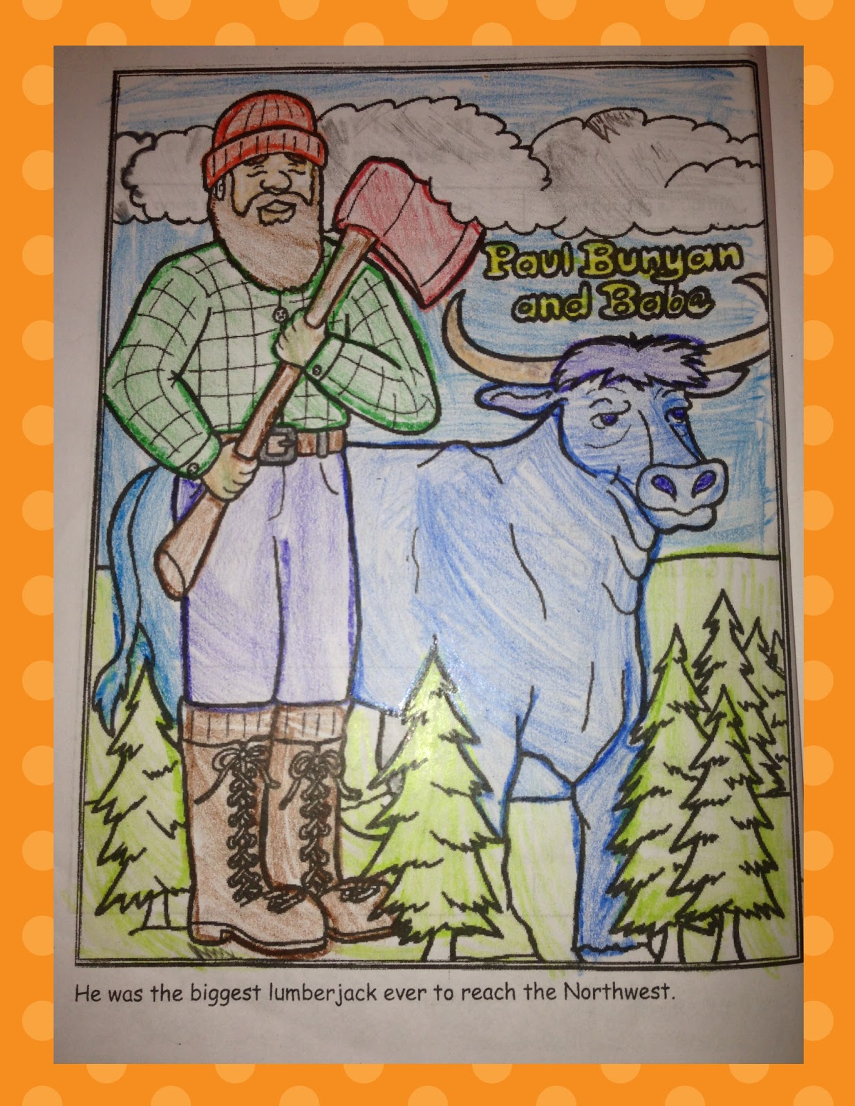 Totally terrific in texas tall tales for Paul bunyan coloring pages