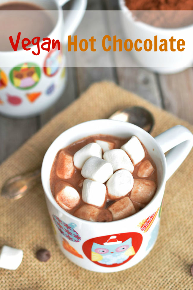 Vegan Hot Chocolate - a warm treat for a cool fall or winter day! Much healthier and more natural than buying hot chocolate or preparing from a conventional mix. With a touch of cinnamon for flavor. #hotchocolate #vegan #nondairy #dairyfree