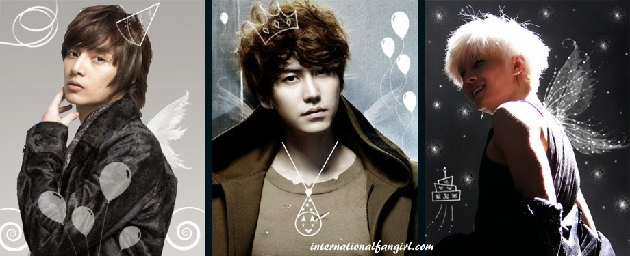 Happy Birthday pictures of Kim Joon 1984, Kyuhyun 1988 of Super Junior and Xero 1994 of Topp Dogg