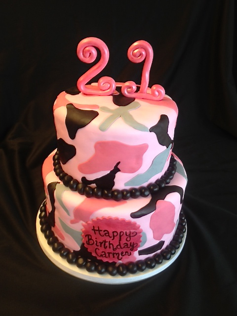 Sweet T s Cake Design: Pink Camo 2 tier Birthday Cake