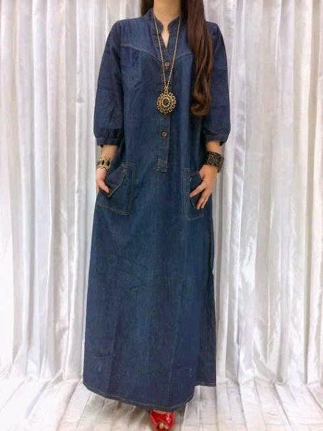 Baju Gamis Dengan Bahan Denim Sejenis Jeans Info Model