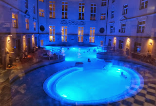 Budapest baths - lit up at night