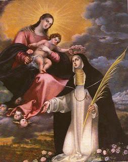 Santa Rosa de Lima, la Virgen María y el Niño Jesús