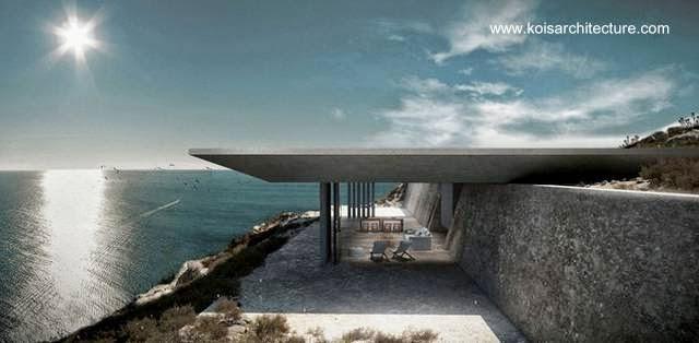 Perfil de una casa contemporánea en Grecia con piscina en el techo