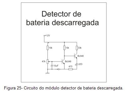 Circuito detector de bateria descarregada