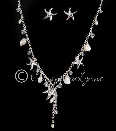 http://cassandralynne.com/collections/wedding-necklace-sets/products/beach-wedding-necklace-set-with-starfish-and-freshwater-pearls