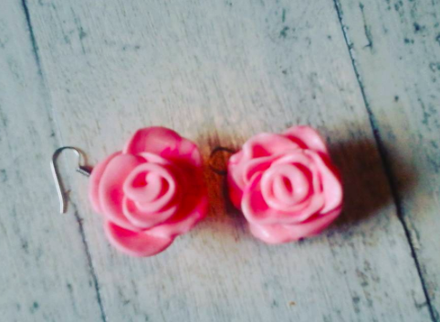 Pink Rose Earrings