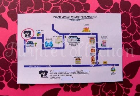 Best Seller Wedding Invitation Card + Map, wedding invitation cards, malay wedding cards, best seller wedding card, purple ribbon card