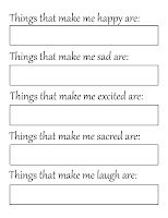 free printable 'My Emotions' page