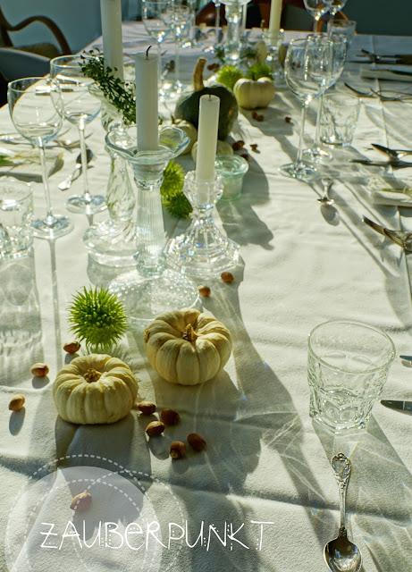 Gäste, Herbst, Tischdeko, Tablesetting, weissgrün, Kürbis