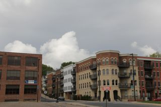 photo of storm clouds over new development