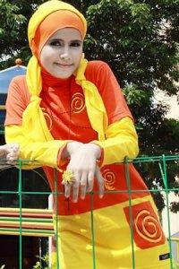 UKHTI Teens UT14 - Coklat & Orange (Toko Jilbab dan Busana Muslimah Terbaru)