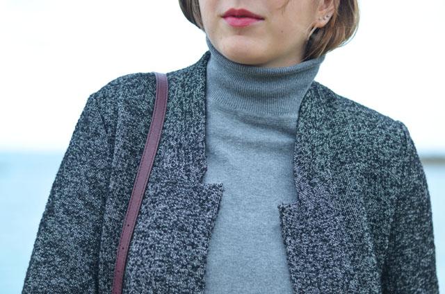 details veste femme zara chiné moucheté col roulé gris