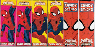 Front view of Ultimate Spider-Man Villains Candy Sticks boxes set three
