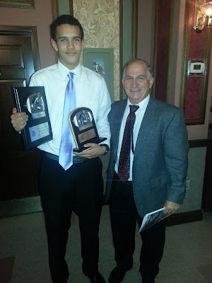 Junior Wide Receiver Derek Kief from La Salle with his 2012 GCL  South First Team All-GCL & Wide Receiver of the Year Awards and La Salle Head Football Coach, Tom Grippa