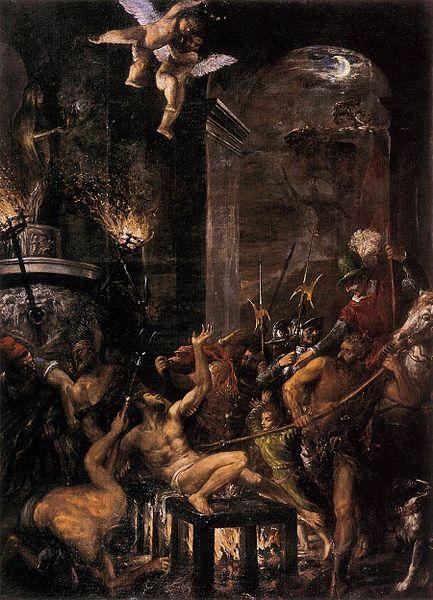 Pintura el Martirio de San Lorenzo Obra de Tiziano
