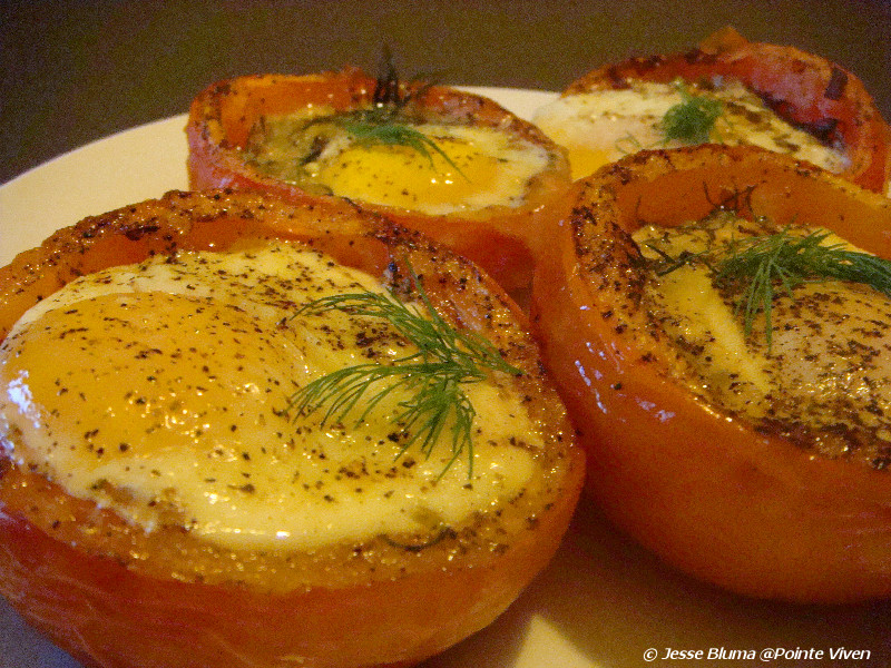 ... Bluma at Pointe Viven: Baked Eggs in Roasted Tomatoes by Jesse Bluma