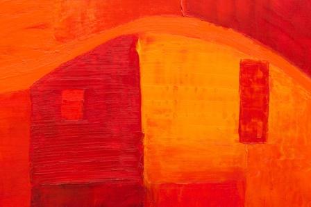 liant acrylique et pigments_toile rouge_maison dans le lubéron