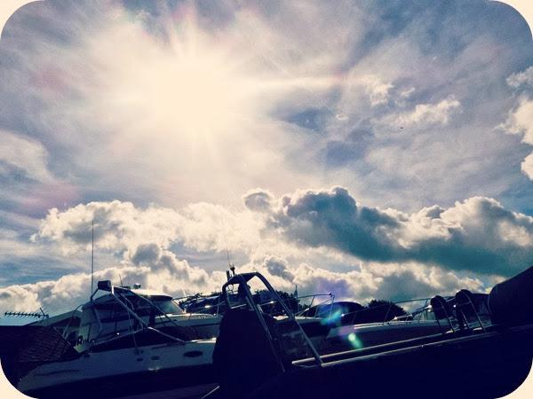 Sun flare boat shot