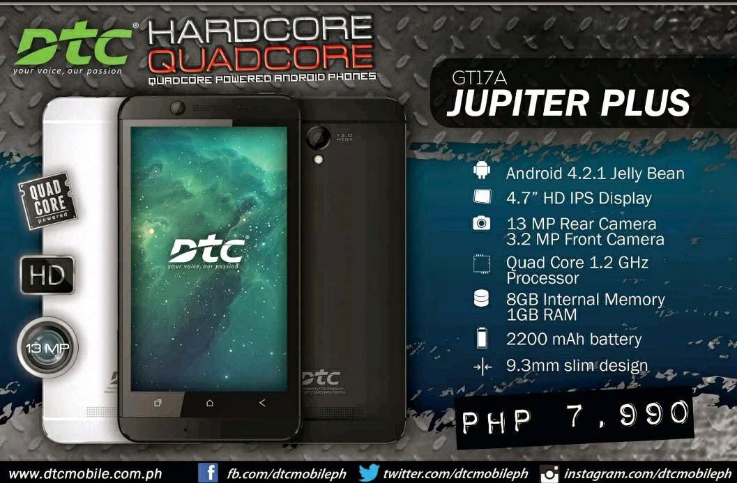 DTC GT17A Jupiter Plus, Quad Core HD Smartphone For Php7,999
