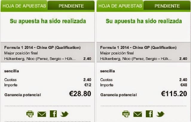 Apuestas Deportivas Rosberg Formula 1- Gran Premio de China Hulkenberg Luckia
