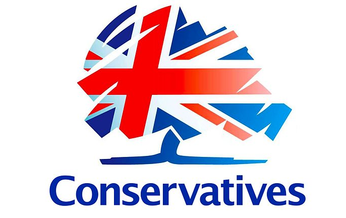 Conservative Party Logo with British flag in shape of tree