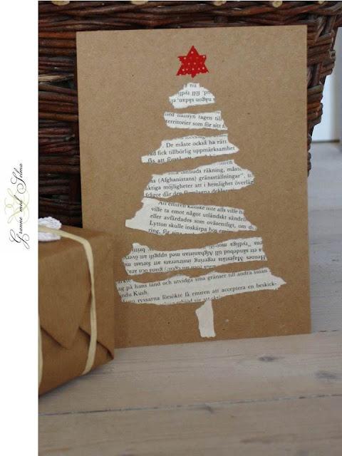 Cartãozinho de Natal feito com páginas de livros