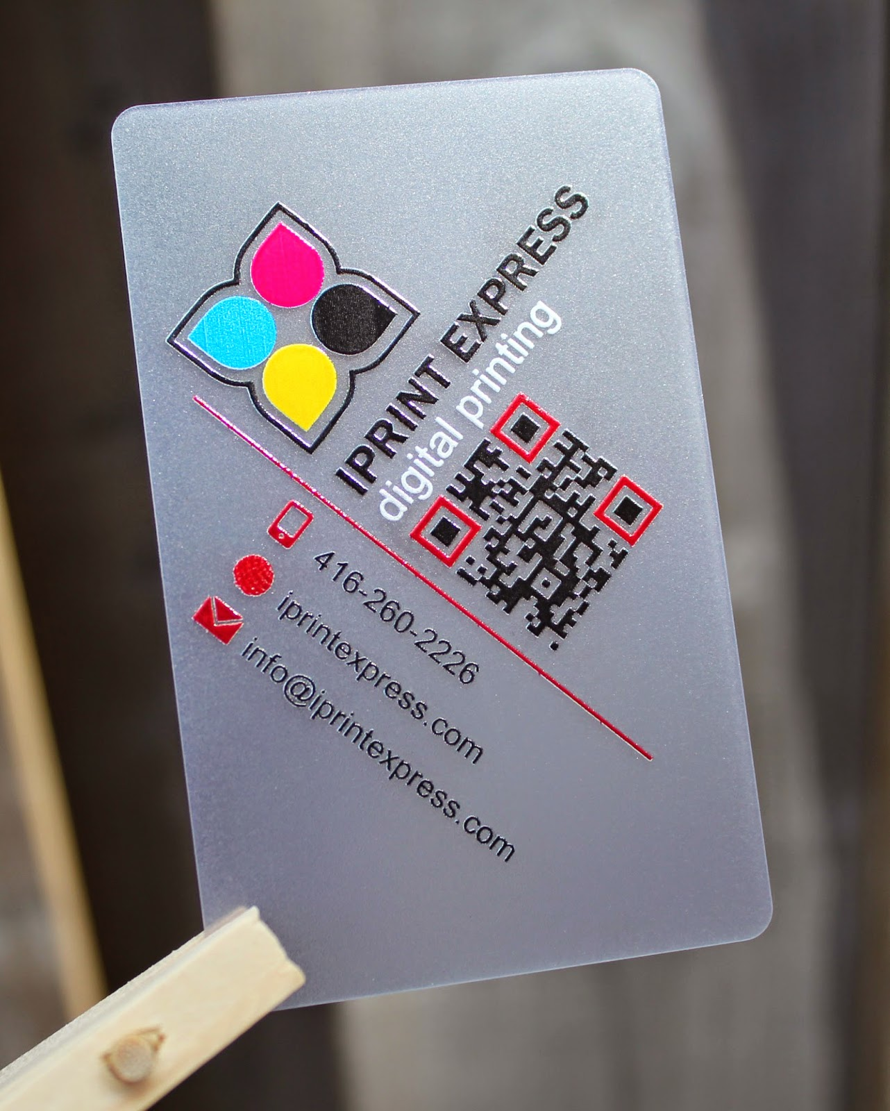 Business cards on wood iprint express toronto digital printing clear frosted plastic cards reheart Choice Image