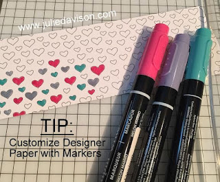 TIP: Customize Designer Paper by coloring it with markers! www.juliedavison.com
