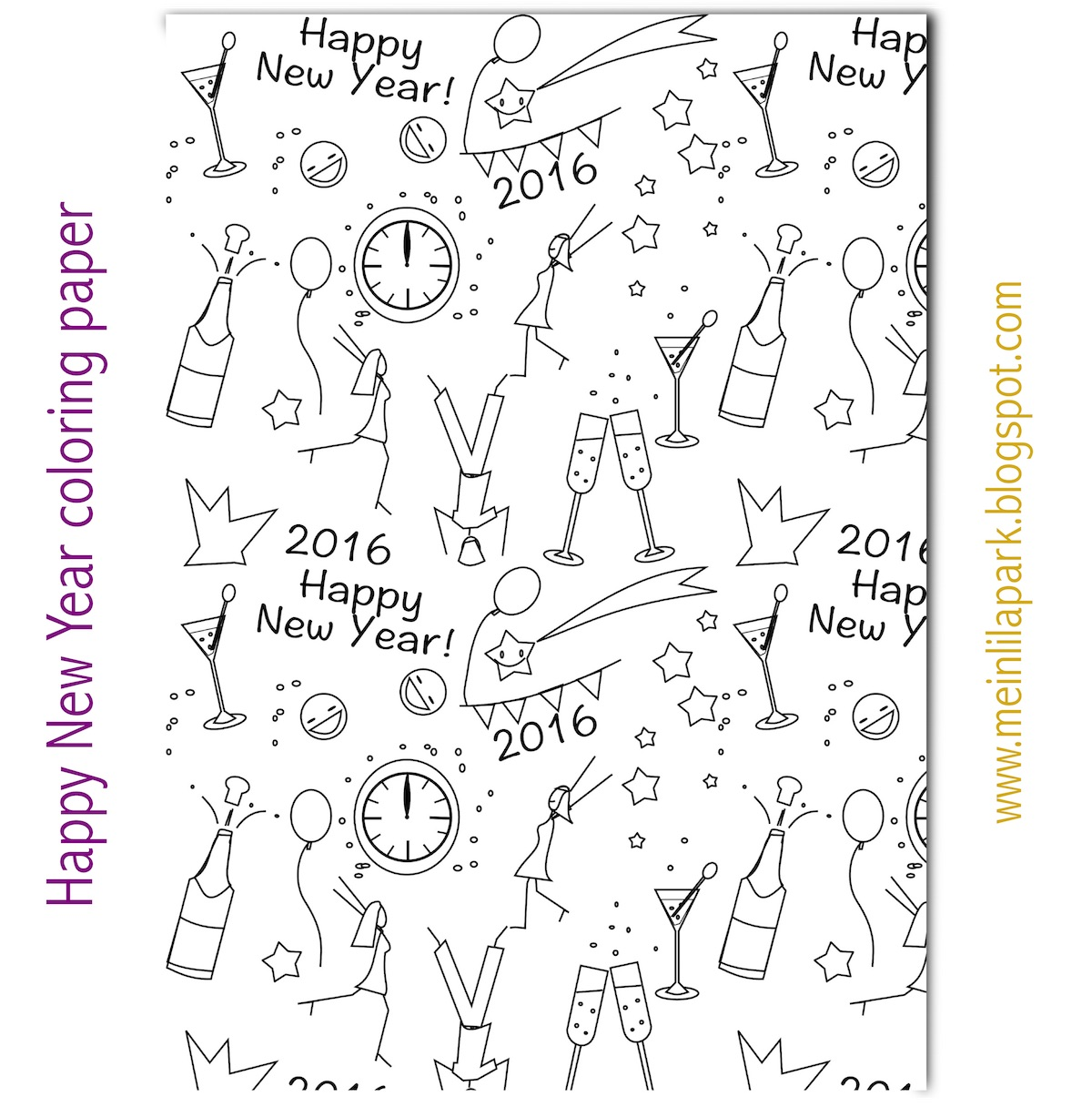 free printable new year coloring paper ausruckbares