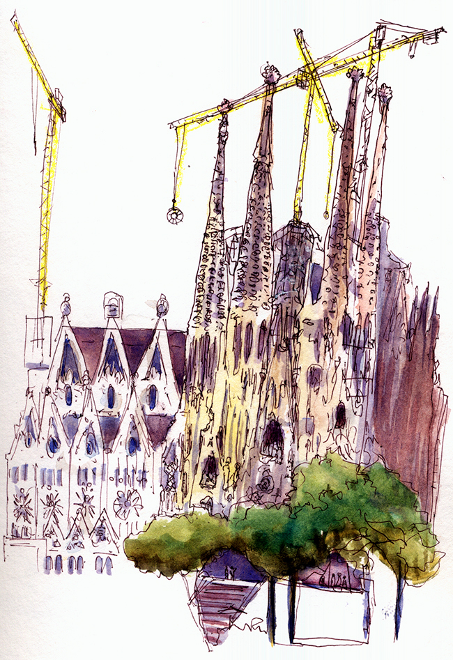 "Shiho Nakaza, Barcelona, ""La Sagrada Familia"" sketch watercolor pen building ""location drawings"""