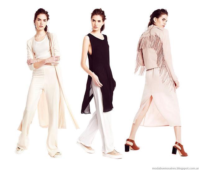 Moda verano 2016 remeras largas con tajos, camperas con flecos, estilo minimal. Clara primavera verano 2016.