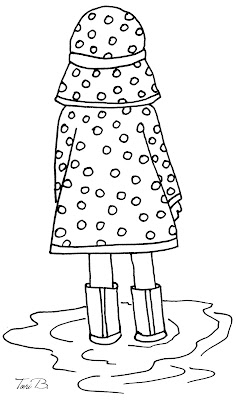 In a Polka Dot Raincoat - Free Crudoodle Digital Stamp by Tori Beveridge