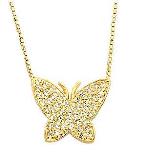 colar com pingente borboleta