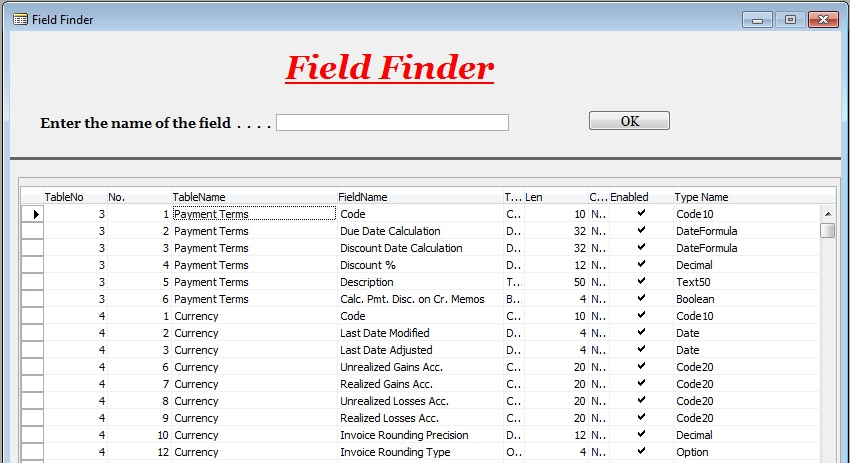 Step in learning microsoft dynamics nav ax field finder for Find a table