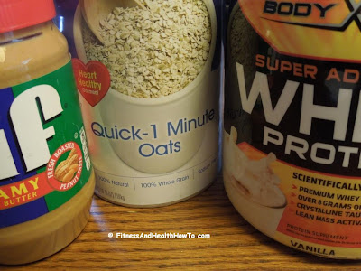 3 main ingredients make up this quick high protein breakfast meal: protein powder, quick oats, and peanut butter.