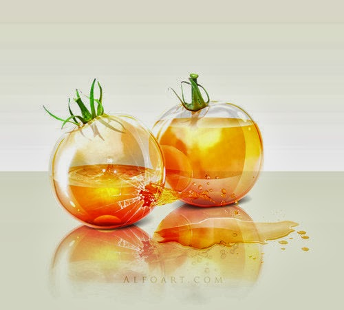 Realistic Glossy Glass Tomatoes