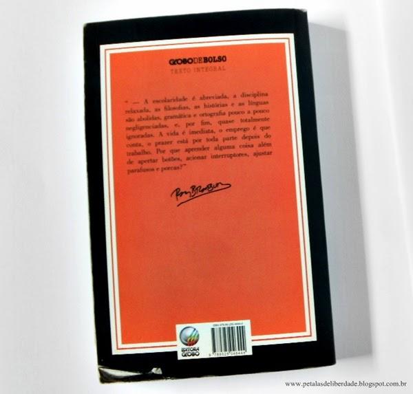 Resenha, premiada, livro, Fahrenheit 451, Ray Bradbury, resumo, crítica, trechos, sorteio, edição de bolso, capa, Editora Globo, contracapa, sinopse, comprar