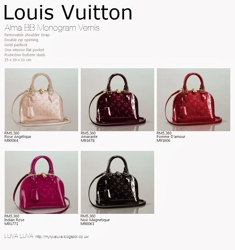 Luva Luva Louis Vuitton Alma Bb Monogram Vernis