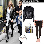 WHAT SHE WORE: Kate Moss in black leather biker jacket and black skinny .