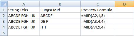 cara menggunakan fungsi mid di microsoft office excel