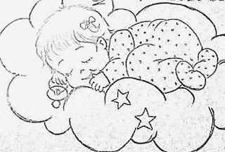 desenho bebe menina dormindo nas nuvens para pintar