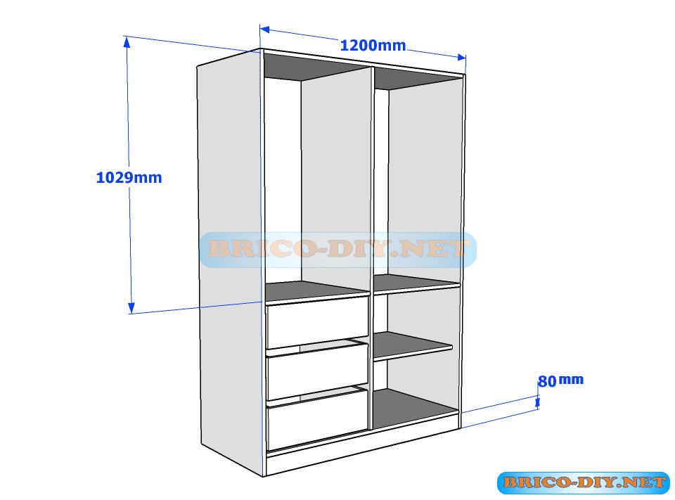 Plano de ropero guardarropa de melamina blanco con gavetas for Proyectos de muebles en melamina