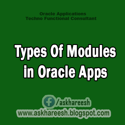 Types Of Modules in Oracle Apps