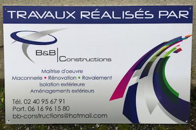 Création graphique et impression en PVC de panneaux de chantiers 600x400 pour B&B Construction, St Herblain.