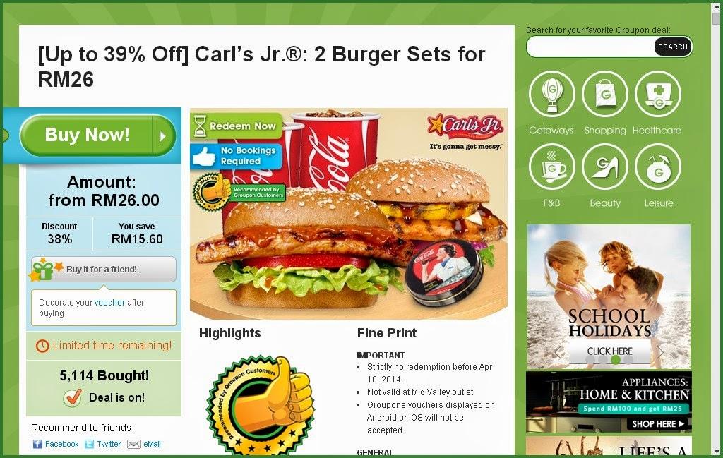 Groupon offer Carl's Jr