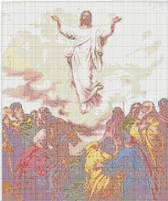 Gambar Pola Kristik Yesus Kristus Naik ke Surga